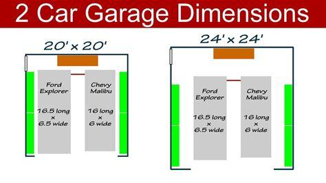typical garage size ideal 2 car garage dimensions
