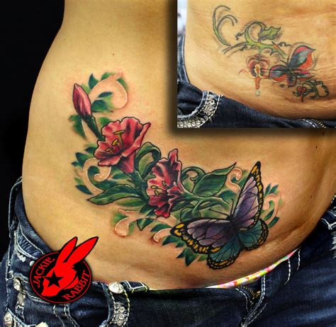 buterfly flower cover up tattoo by jackie rabbit by