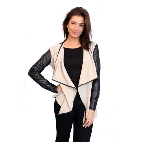 leather sleeve blazer waterfall knitted blazer with leather sleeves from parisia