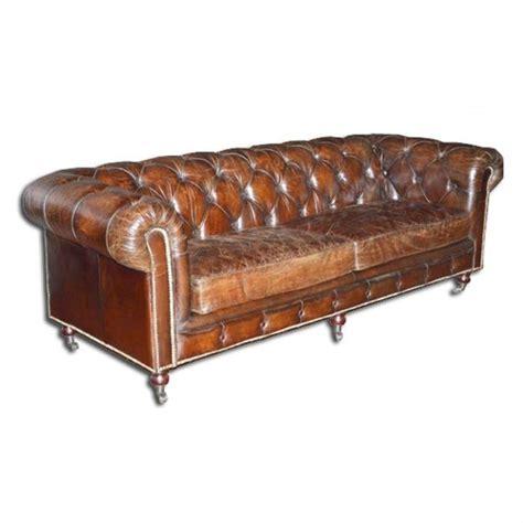 canap 233 chesterfield marron cuir v 233 ritable vieilli achat vente canap 233 sofa divan les