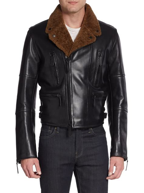 leather and shearling jacket burberry prorsum leather shearling moto jacket in black for lyst