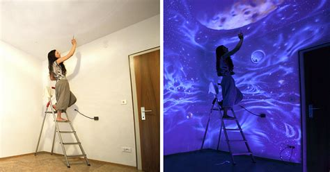 glow in the paint vs black light paint artist paints rooms with murals that glow blacklight