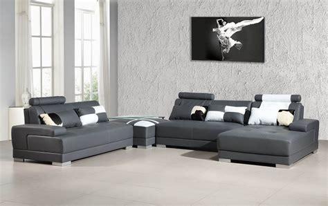 grey sectional sofas phantom contemporary grey leather sectional sofa w ottoman