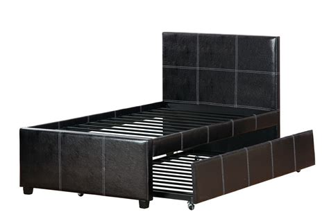 leather bed with trundle size espresso faux leather bed frame trundle