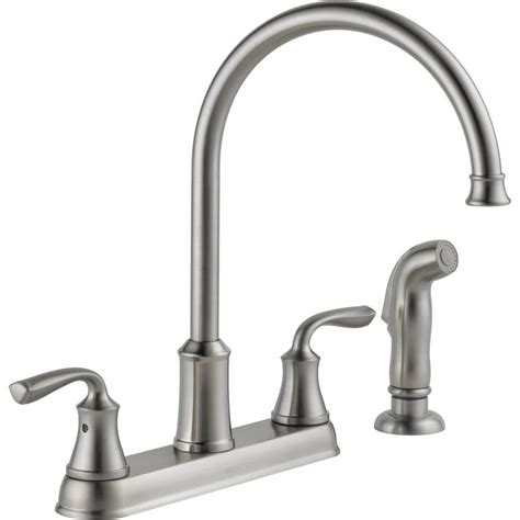 kitchen faucet stores shop delta lorain stainless 2 handle high arc kitchen faucet with side spray at lowes