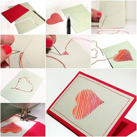 how to make simple greeting cards how to make sew card step by step diy tutorial