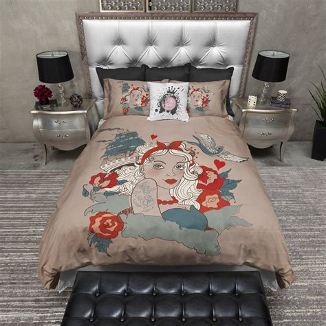 pin up bedding rockabilly pinup style duvet bedding sets ink and