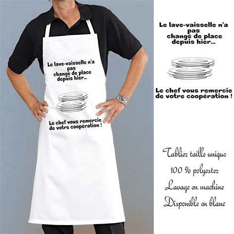 tablier cuisine lave vaisselle avec message rigolo en cadeau sympa