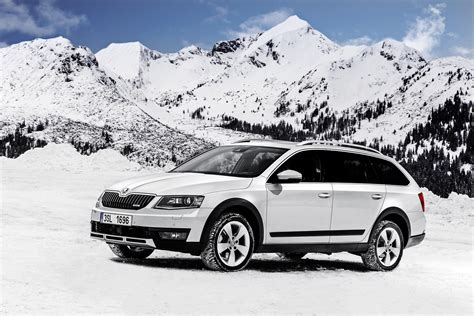 Car Wallpaper Snow by White Car Skoda Octavia On A Background Of Snow Capped
