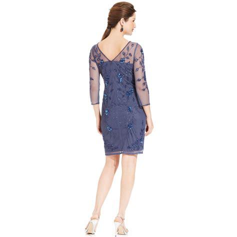 patra beaded dress patra three quarter sleeve beaded illusion dress in blue