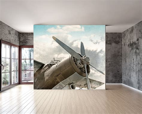 aviation wall murals wall mural vintage airplane wall paper repositionable