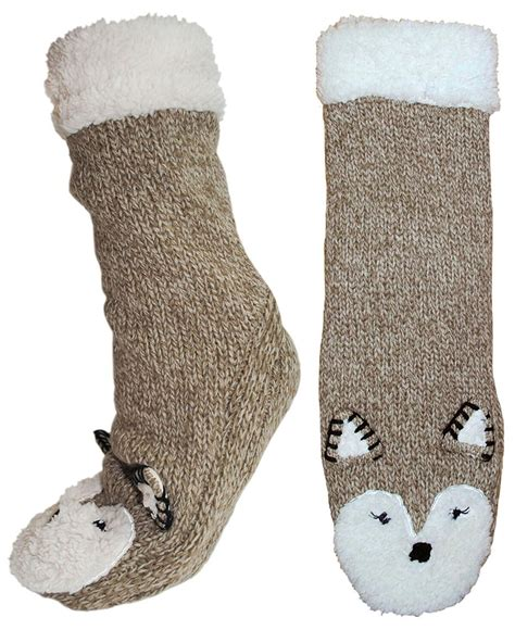 knitted animal socks womens sherpa fleece lined animal booties