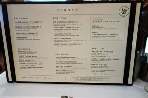 the maine dining room new dining room menus on oasis of the seas
