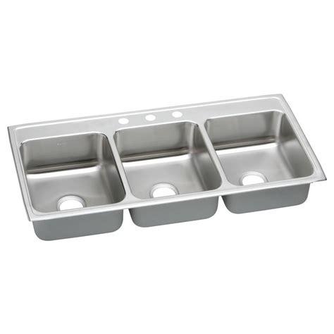 3 basin kitchen sink elkay lustertone drop in stainless steel 46 in 3