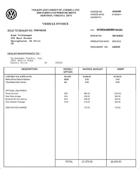 invoice price car printable invoice template