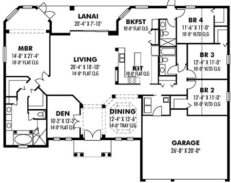 4 bedroom house plans 1 story florida house plan 4 bedrooms 3 bath 2593 sq ft plan 73 173