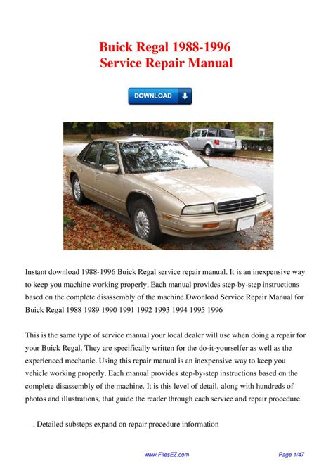 service manual downloadable manual for a 1992 buick park avenue buick park avenue 1992 le buick regal 1988 1996 service repair manual by david wong issuu