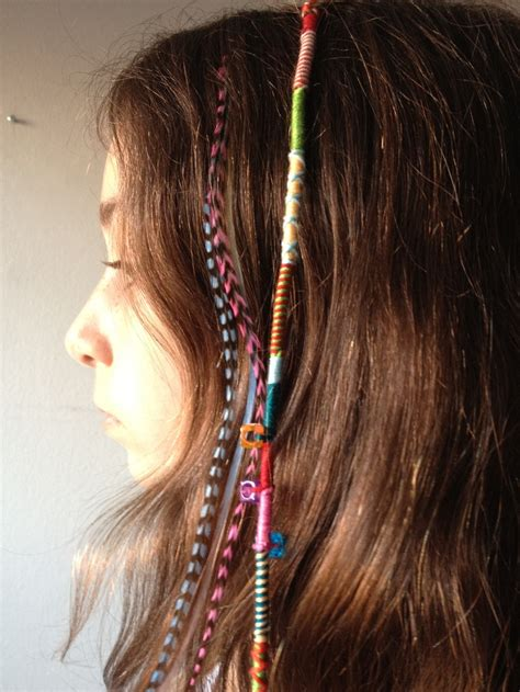 how to braid hair with string and hair wrap with friendship bracelet string next to hair