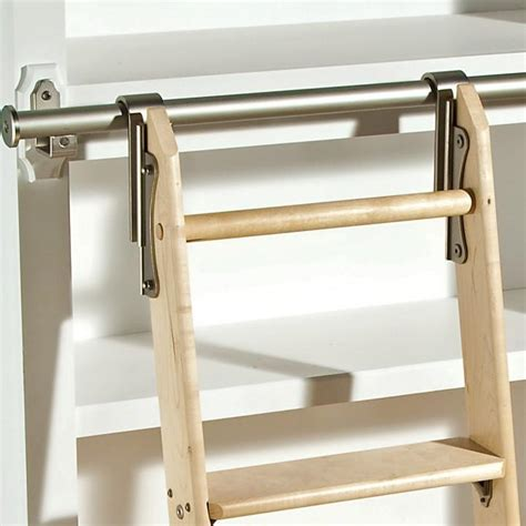 bookcase ladder kit rockler classic satin nickel rolling library ladder