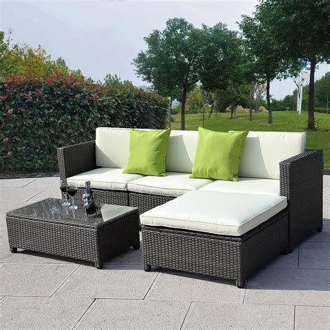 rattan wicker patio furniture outdoor patio wicker sofa set 5pc pe rattan
