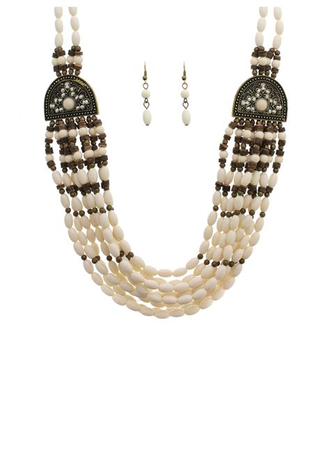 indian necklace white beaded indian necklace and earrings