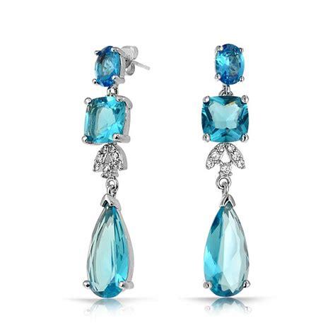 blue chandelier earrings blue topaz color cz square teardrop cz bridal chandelier