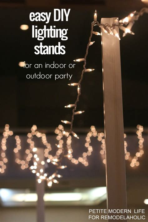 string lights diy easy diy light stands for string lights remodelaholic