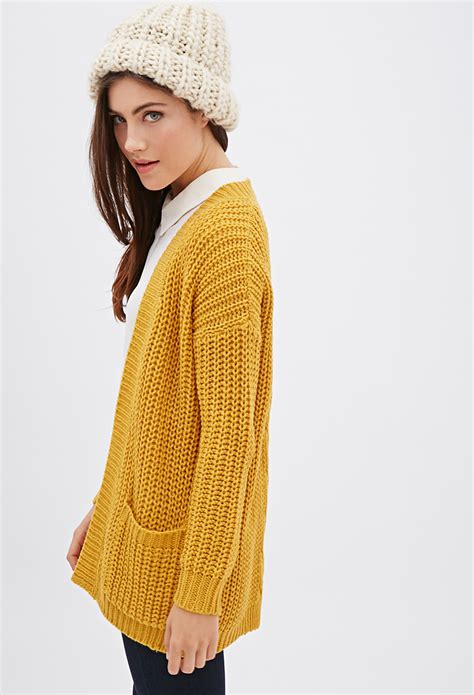 yellow knit cardigan forever 21 purl knit cardigan in yellow lyst