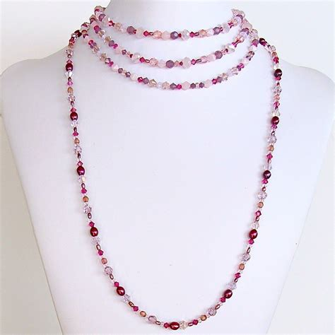 pink beaded necklace handmade pink beaded necklace