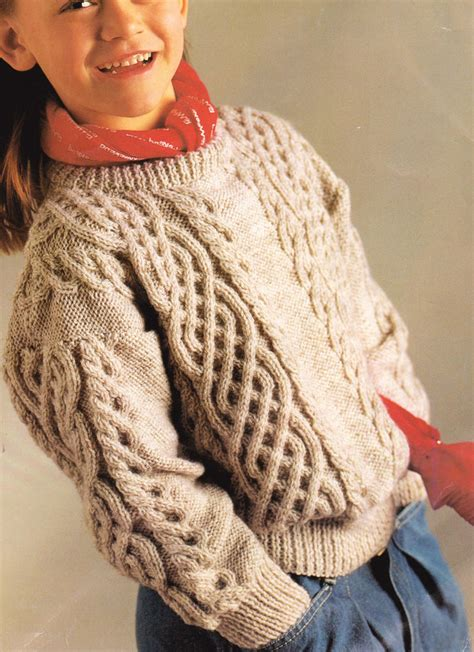 children s sweater knitting patterns celtic braided cable aran style childrens sweater 24 quot 32