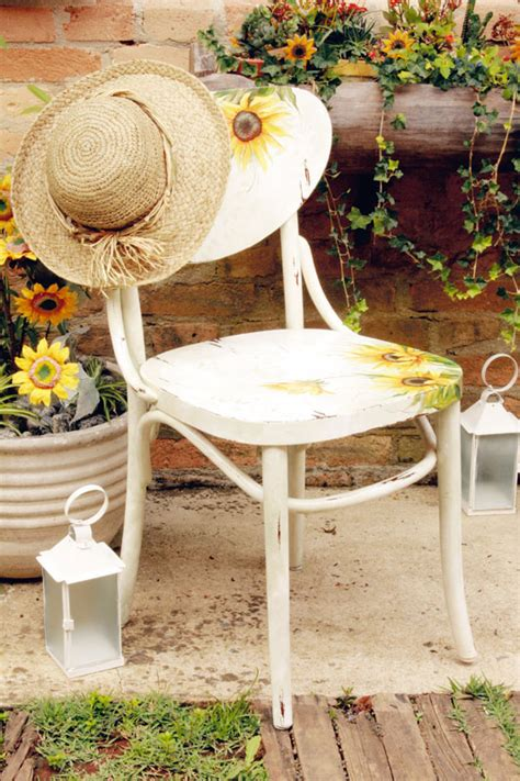 decoupage outdoor furniture diy ideas to decorate garden furniture colourful