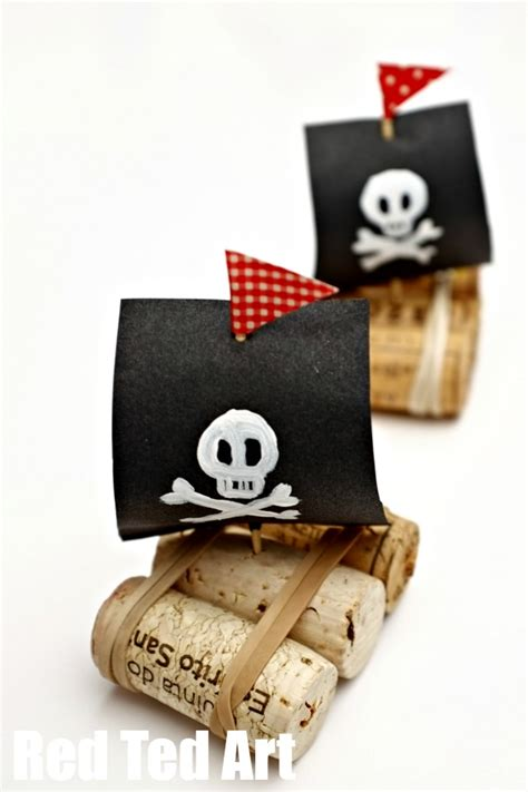 pirate crafts for pirate ships cork boat craft for ted s