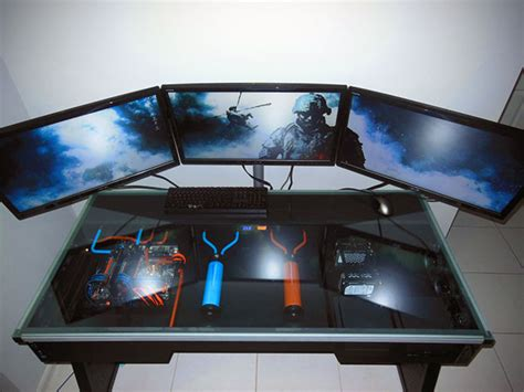 computer desk with built in computer amazing liquid cooled computer built directly into a desk
