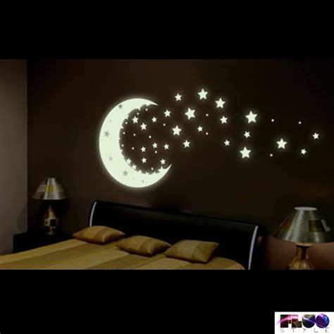 Wall Stickers Glow In The Dark fluorescent phosphorescent glow in the dark stars and moon