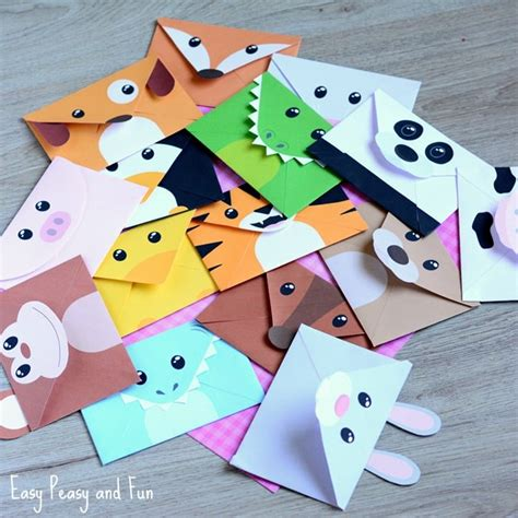 envelope crafts for printable silly animals envelopes easy peasy and