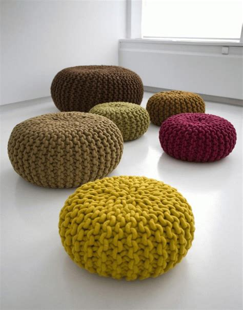 knitted poofs handknitted wool poufs and rugs by christien meindertsma