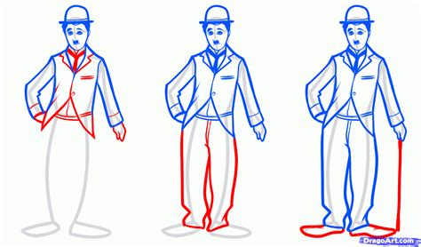 how to drow how to draw chaplin step by step