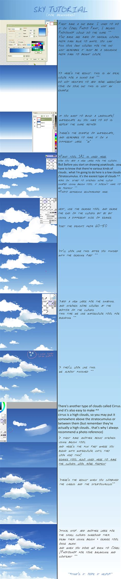 paint tool sai sky tutorial sky clouds tutorial by megatruh on deviantart