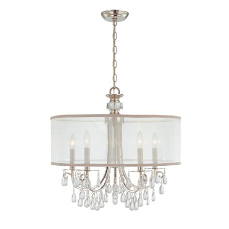 chandelier drum shade hton 5 light 24 quot polished chrome chandelier