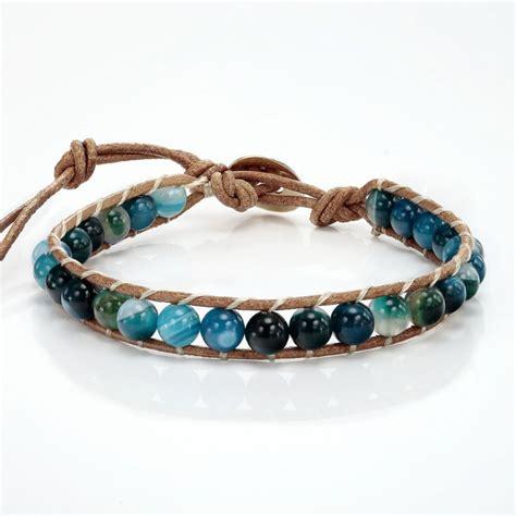 leather beaded bracelets handmade blue agate beaded bracelet on brown leather