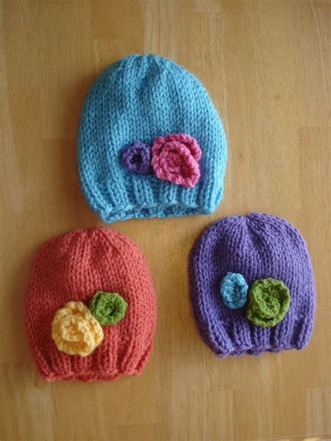 how to knit flowers for baby hat stitching colors and the flowers on