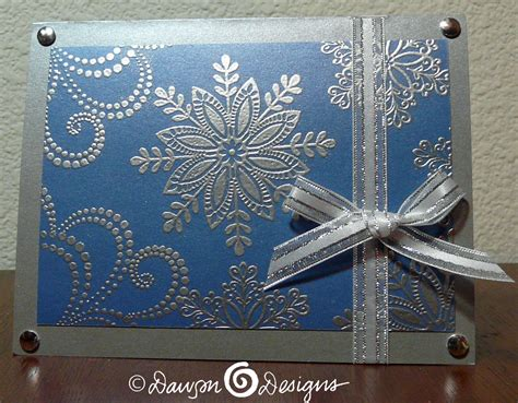 embossing card seven silver and blue snowflake cards s