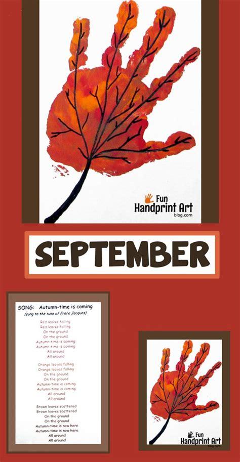 september crafts handprint leaf for september handprint calendar