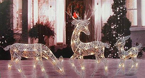lighted reindeer yard decorations 3 white glittered doe fawn and reindeer lighted