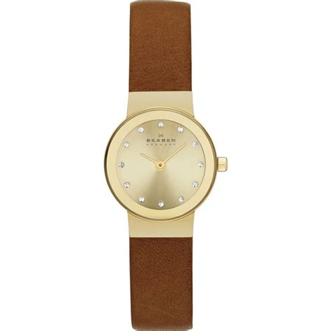 womens watches leather band skagen freja s mini brown and gold leather skw2175