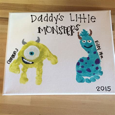 fathers day craft s day gift monsters inc toddler handprint canvas