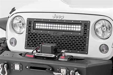 jk led light bar mesh replacement grille with 20in led light bar for 2007