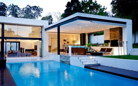 modern house with pool architecture swiming pool house modern wallpaper