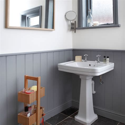 white grey bathroom ideas grey and white panelled bathroom bathroom decorating ideal home