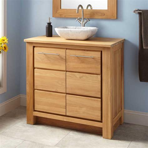 narrow bathroom sinks and vanities 36 quot narrow depth venica teak vessel sink vanity vessel